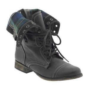 Steve Madden Flannel Troopa Style Combat Boots